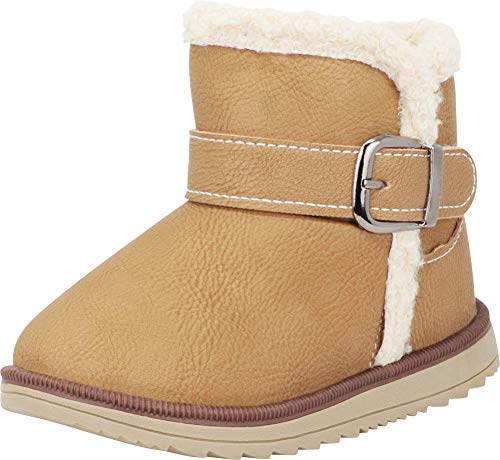 Cambridge Select Baby Girls' Faux Fur Fleece Boot (Infant/Toddler),5 M US Toddler,Khaki