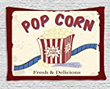 Movie Theater Tapestry, Fresh and Delicious Pop Corn Film Tickets and Strip Advertising in 60s Theme, Wall Hanging for Bedroom Living Room Dorm, 60 W X 40 L Inches, Multicolor