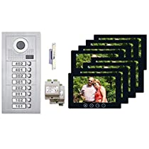 Multifamily Video Intercom System Kit 7 Inch Monitor 8 Tenant