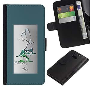 APlus Cases // HTC One M8 // Montañas Papel Arte Póster Japón el Zen // Cuero PU Delgado caso Billetera cubierta Shell Armor Funda Case Cover Wallet Credit Card
