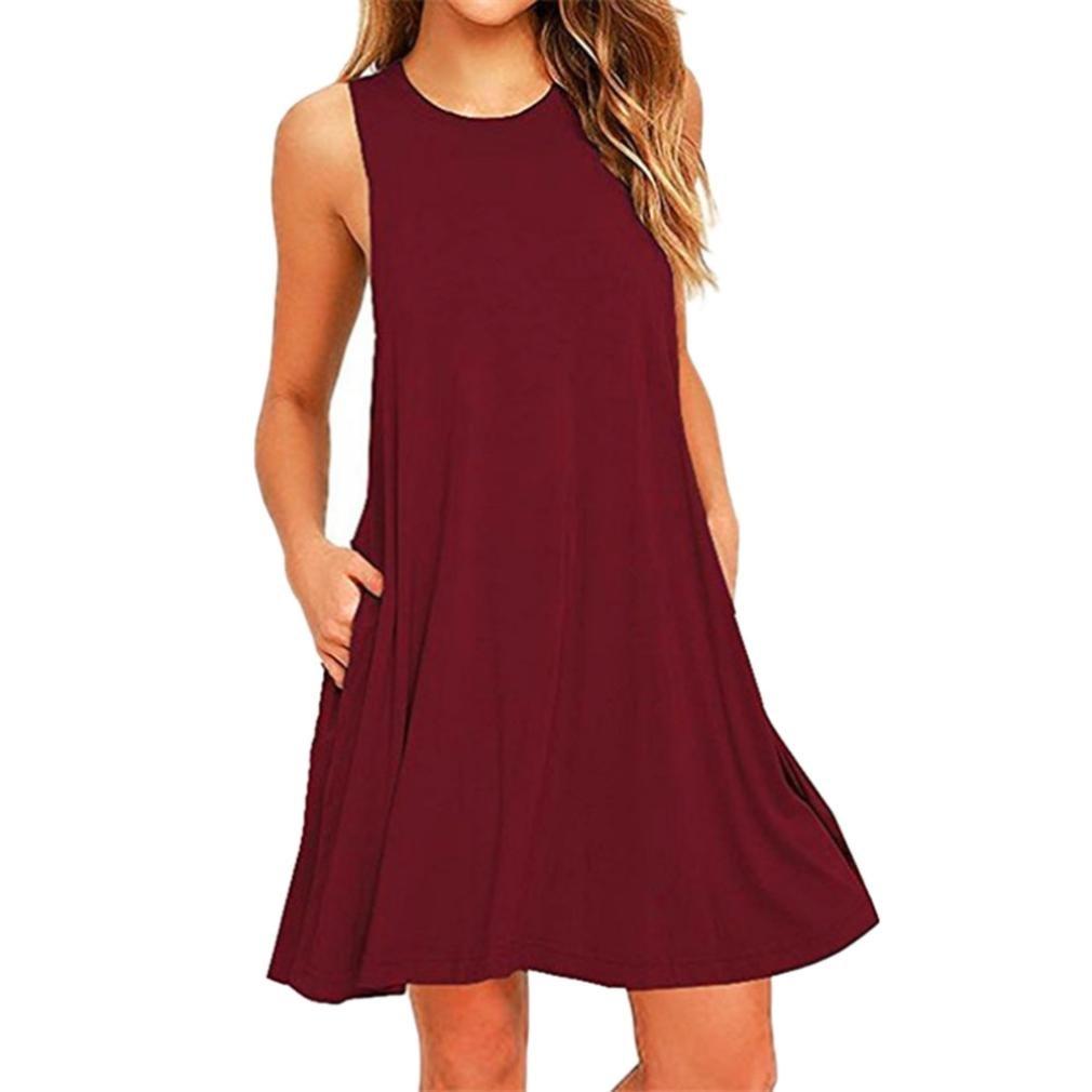 Clearance! Women Casual Summer Sleeveless Tank Dress Loose Swing Tunic Shirt Dress Beach Sundress (Wine Red, M)