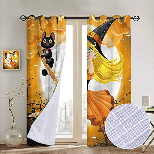 NUOMANAN Blackout Curtains 2 Panels Halloween,Cute Witch,for Room Darkening Panels for Living Room, Bedroom -