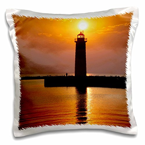 (3dRose Mi, Muskegon. Lighthouse On Lake Michigan-Us23 Rer0002-Ric Ergenbright Pillow Case 16 x 16)