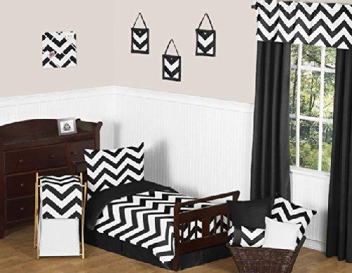 Sweet Jojo Designs Black Toddler Bed Skirt for Black and White Chevron Kids Children's Bedding Sets