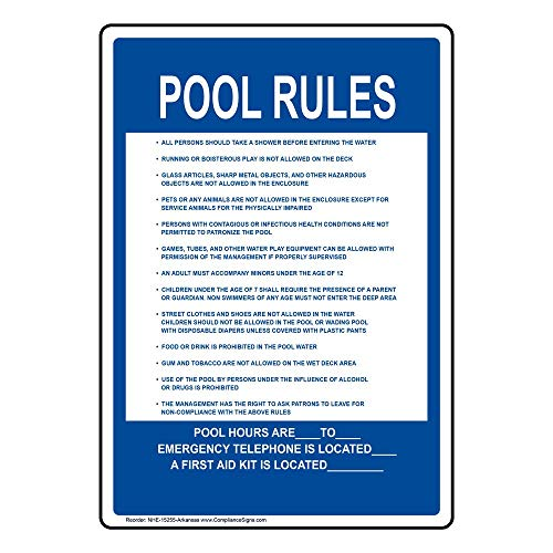 Pool Rules Sign, 8x2 in. Aluminum for Recreation by ComplianceSigns