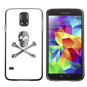 Eason Shop / Hard Slim Snap-On Case Cover Shell - White Silver Crossbones Skull Black - For Samsung Galaxy S5 SM-G900