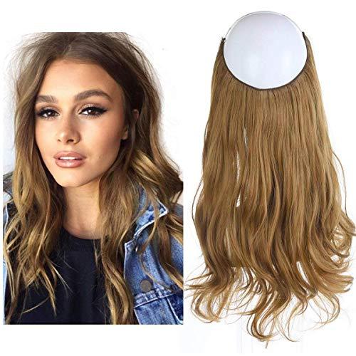 "Halo Secret Invisiable Hair Extension Flip Hidden Wire Crown Natural Curly Golden Auburn Long Synthetic Hairpiece For Women Japan Heat Temperature Fiber SARLA 18"" 4.4oz M01&27"