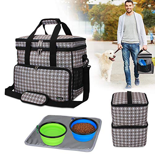 Teamoy Double Layer Dog Travel Bag with 2 Silicone Collapsible Bowls, 2 Food Carriers, 1 Water-Resistant Placemat, Pet Supplies Weekend Tote Organizer (Large, Gray Dots) from Teamoy