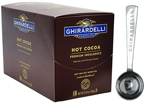Ghirardelli - Hot Cocoa Premium Indulgence 1.5 ounce 15 Pouch Caddy & 1.5 Tbsp Measuring Spoon Chocolate Smooth Pouch