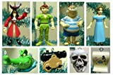 Disney Peter Pan 10 Piece Holiday Christmas Ornament Set Featuring Tinker Bell, Skull Island, Wendy, Captain Hook, Smee, Peter Pan, Treasure Chest, Treasure Map, Cannon, and Tick Tock Crock Ornament