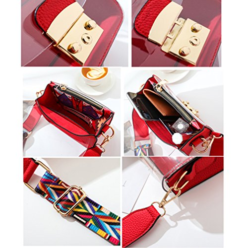 Crossbody Length PVC Purse 85 Durable Handbag Women's Purse Wide Clear Bag Red Strap Transparent Organizer Shoulder Small 135cm rP0fzgPqwx