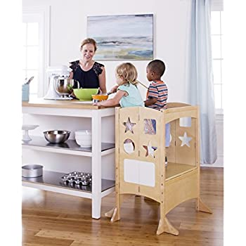 Guidecraft Kids Double Kitchen Helper   Natural Extra Wide Adjustable Step  Stool For Toddlers   Kids