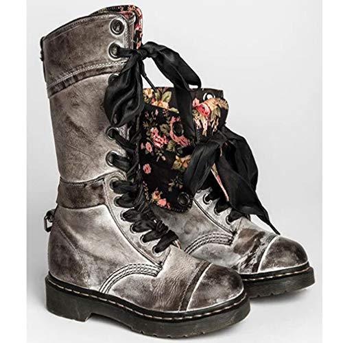 Cabeza Redonda Color Caballero Gris Combate Martin Zapatos Botas Boots Planas Cordones Sólido Zapatillas Mujer De Florales Retro vxnqwS6p1O