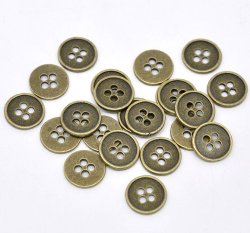 PEPPERLONELY Brand 50PC Antiqued Bronze Metal 4 Holes Scrapbooking Sewing Buttons 13mm (1/2 Inch)