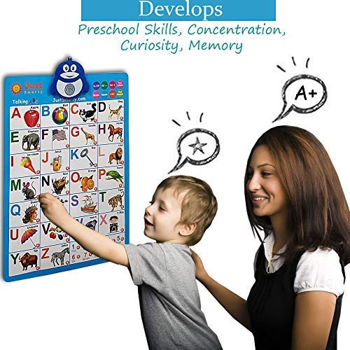 Just Smarty Electronic Interactive Alphabet Wall Chart, Talking ABC & 123s & Music Poster, Best Educational Toy for Toddler. Kids Fun Learning at Daycare, Preschool, Kindergarten for Boys & Girls by Just Smarty (Image #3)