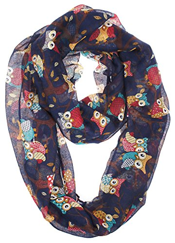 Vivian & Vincent Soft Light Weight Cartoon Owl Sheer Infinity Scarf Navy Blue