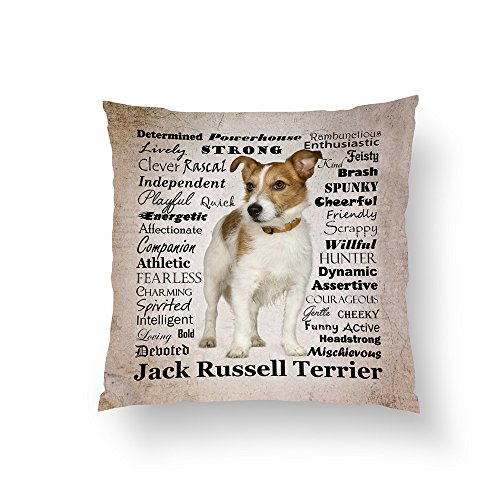 Zippered Pillow Covers Pillowcases 16x16 Inch Jack Russell Traits Pillow Pillow Cases Cushion Cover for Home Sofa Bedding