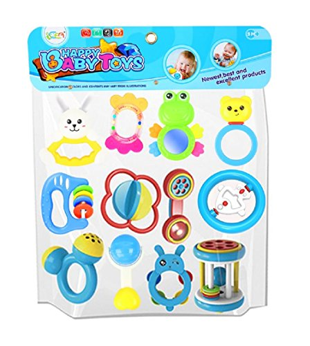 Litzpy's Mega 12 Piece Baby Rattle Set Bright and Colorful - Great Baby Gift Idea
