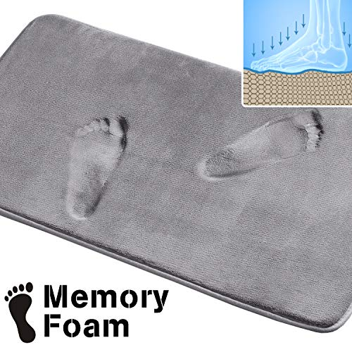 (Memory Foam Bath Mat Non Slip Absorbent Super Cozy Velvety Bathroom Rug Carpet (Grey, 20x32-Inches))