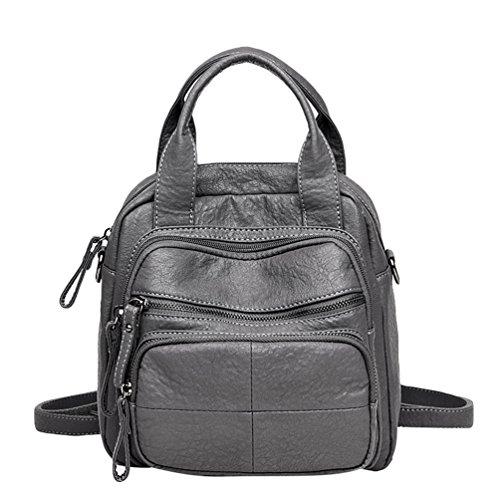 Xinwcang Crossbody Gray PU Ladies Bag Rucksack Leather Women Purse Convertible Backpack Shoulder Casual Fashion Washed Handbags 0vf0ZA