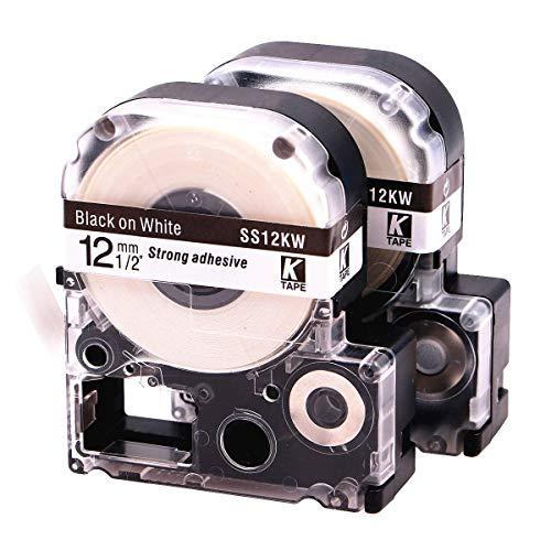 LKLC LabelTapeCartridge CompatibleEpsonLabelworksLW-300LW-400LW-500LW-600plabelprinters,BlackOnWhiteLC-4WBN9(LK-4WBN),1/2''(12mm)x30ft(9m) - 2 Pack by Label QUEEN
