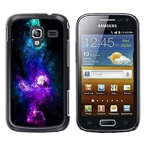 // PHONE CASE GIFT // Duro Estuche protector PC Cáscara Plástico Carcasa Funda Hard Protective Case for Samsung Galaxy Ace 2 / NEON PURPLE BLUE GALAXY /