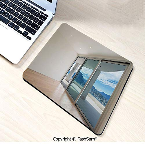 (Mouse Pads Penthouse Room with Wide Terrace Sliding Door Parquet Mountains Idyllic for Home(W9.85xL11.8))