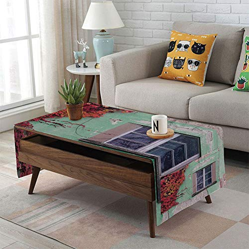 iPrint Linen Blend Tablecloth,Side Pocket Design,Rectangular Coffee Table Pad,Autumn,Fall Ivy on Old House Walls Left Countryside Mansion Vintage Architecture Design,Red Mint Green,for Home (Low Country Sideboard)