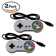 SNES USB Retro Controller- Super Game Controller SNES USB Colored Classic Gamepad [2-Pack] for Windows PC/MAC Raspberry Pi Games by Mario Retro