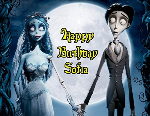 Corpse Bride Tim Burton Gothic Edible Image Photo Sugar Frosting Icing Cake Topper Sheet Personalized Custom Customized Birthday Party - 1/4 Sheet - 76529