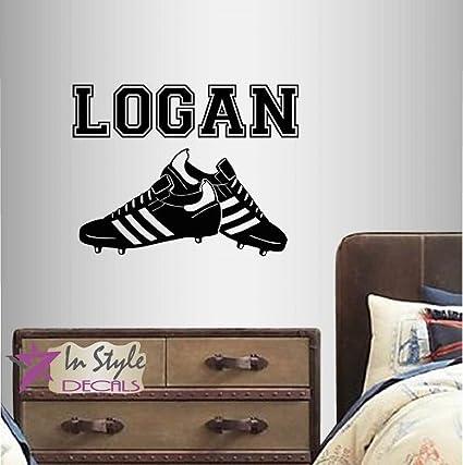 Wall Vinyl Decal Home Decor Art Sticker Soccer Football Shoes Cleats Customized Name Boy Girl Sport