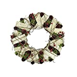"""Northlight Unlit Natural Twig and Birch Wood Pine Cone Artificial Christmas Wreath, 19"""""""