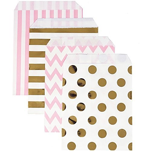 Chloe Elizabeth Food Safe Biodegradable Paper Candy Favor & Treat Bags for All Parties - 48 Count Assorted, 7x5 Size (Pink, Gold Foil)