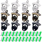 Cheap Glarks 12Pcs Silver/Bronze/ Black Wall Mounted Bottle Opener Set for Beer Cap Coke Bottle Wine Soda Open and Kitchen Cafe Bars with Mounting Screws