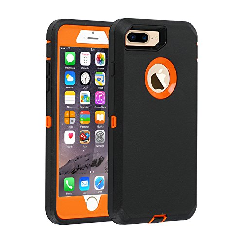 """Co-Goldguard iPhone 7 Plus/8 Plus Case Heavy Duty Armor 3 in 1 Built-in Screen Protector Rugged Cover Dust-Proof Shockproof Drop-Proof Scratch-Resistant Shell for Apple iPhone 7+/8+ 5.5"""",Black/orang"""