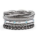 Sterling Silver Stackable Diamond & Blue Topaz Band Set Size 9
