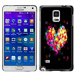 // PHONE CASE GIFT // Duro Estuche protector PC Cáscara Plástico Carcasa Funda Hard Protective Case for Samsung Galaxy Note 4 / BOKEH COLORFUL HEART /
