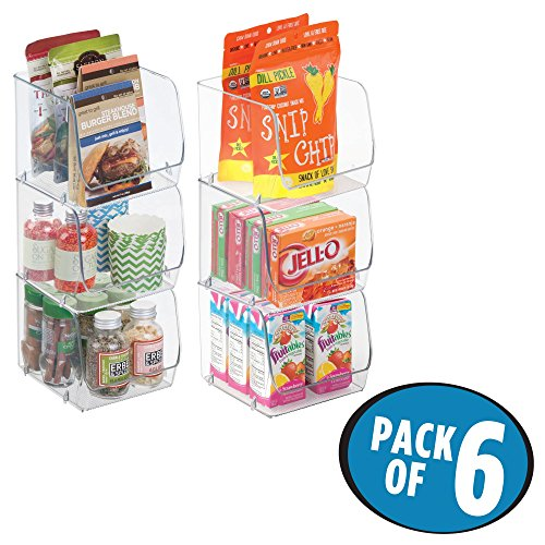 mDesign Stacking Organizer Bins for Kitchen, Pantry, Office, Bathroom – Pack of 6, Medium, Clear
