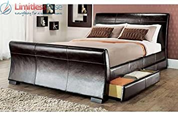 4ft6 Double size leather sleigh bed with storage 4X drawers Brown