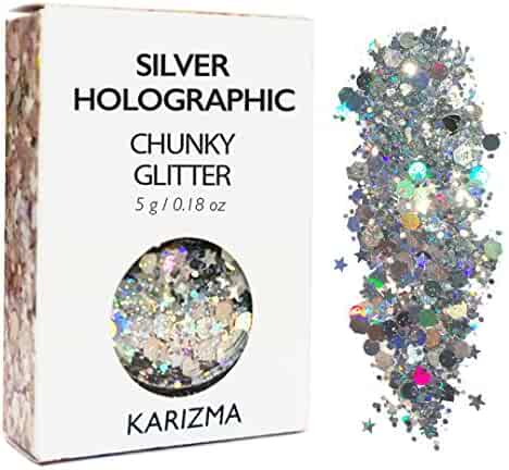 Silver Holographic Chunky Glitter ✮ COSMETIC GLITTER ✮ Festival Face Body Hair Nails