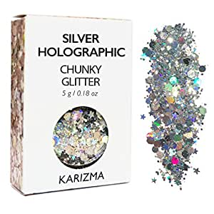 Silver Holographic Chunky Glitter ✮ COSMETIC GLITTER KARIZMA ✮ Festival Beauty Makeup Face Body Hair Nails