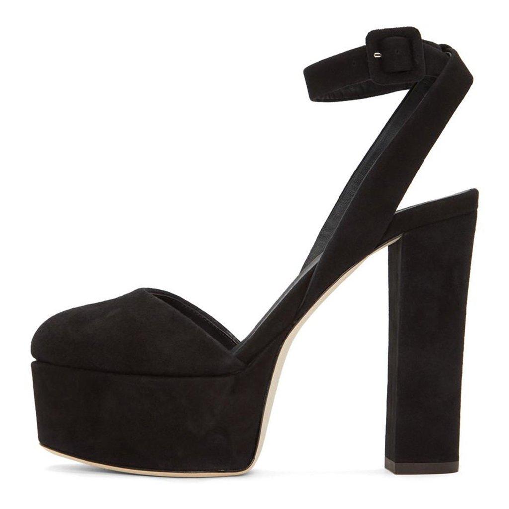 Black Women's Black Suede Super High Heel Platform Round Head Single shoes (Heel Height  12-13cm)