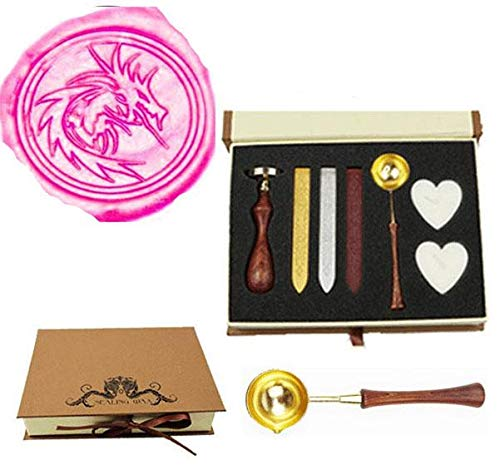 Filigree Christmas Cards - MNYR Heraldic Filigree Fire Dragon Wax Seal Stamp Wood Handle Melting Spoon Sealing Wax Candle Gift Box kit Wedding Invitation Embellishment Holiday Card Christmas Gift Wrap Package Seal Stamp Set