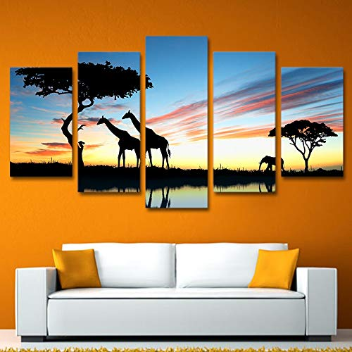 kkxdp Frameless Canvas Hd Prints Picture for Living Room Home Decor 5 Panel African Animal Giraffe Elephant Sunset Landscape Paintings-A