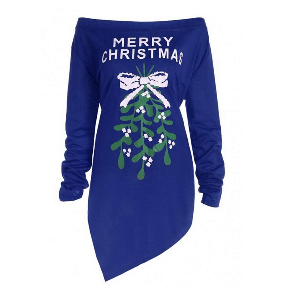 Makeupstore Women Xmas Print Letter Dress Christmas Tree Long Sleeve Party Dresses Chrismas Dress061