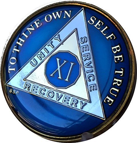 Bright Star Press 11 Year Midnight Blue AA Alcoholics Anonymous Medallion Chip Tri Plate Gold & Nickel Plated (Star Unity)