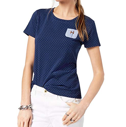 (Tommy Hilfiger Women's Dot-Print Shirts Medium Sky Captain Micro Dot)