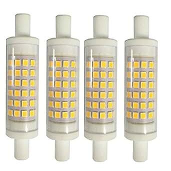 AscenLite 5W R7S Non-Dimmable, Paquete de 4, J78 Bombilla LED 220-240V 78mm Caliente 50W blanco Bombilla halógena doble final J reemplazo tipo: Amazon.es: ...