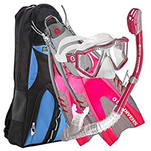 U.S. Divers Lux Platinum Panoramic View Pivot Fins Dry Top Snorkel with Durable Gear Bag, Small/Medium, Pink