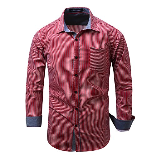Small Size Men's Casual Slim Fit Button Down Dress Shirt Long Sleeve Denim Work Shirts With Pocket (XL (US - L), Red) (Jeans Pocket Chest)